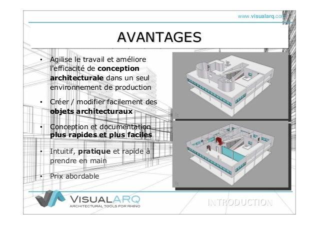www.visualarq.com AVANTAGESAVANTAGESAVANTAGES • Agilise le travail et améliore l'efficacité de conception architecturale d...
