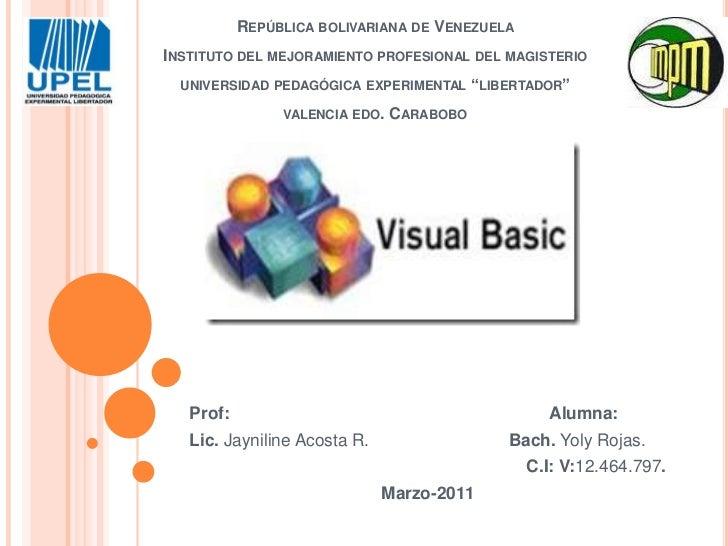 República bolivariana de VenezuelaInstituto del mejoramiento profesional del magisteriouniversidad pedagógica experimental...