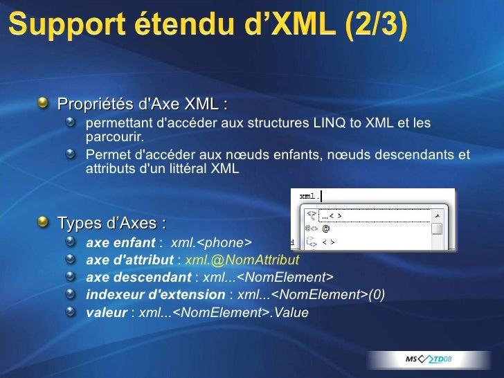 <ul><li>Propriétés d'Axe XML :  </li></ul><ul><ul><li>permettant d'accéder aux structures LINQ to XML et les parcourir.  ...