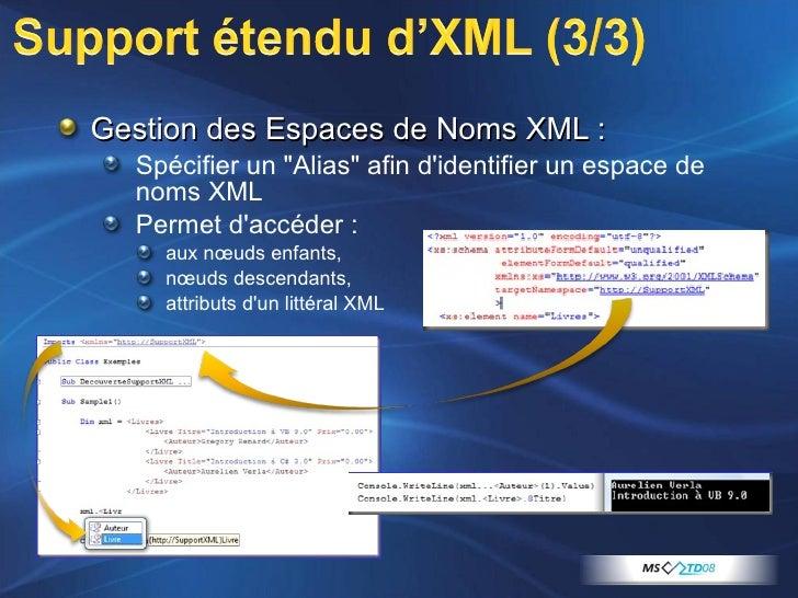 <ul><li>Gestion des Espaces de Noms XML :  </li></ul><ul><ul><li>Spécifier un &quot;Alias&quot; afin d'identifier un espac...