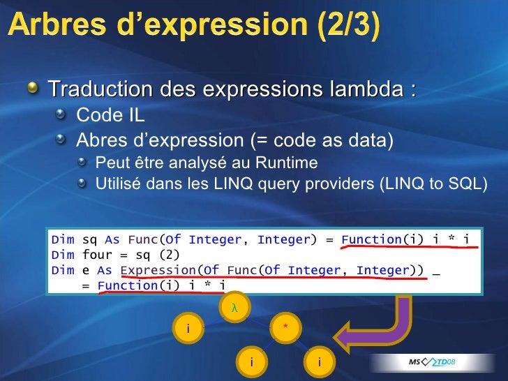 <ul><li>Traduction des expressions lambda : </li></ul><ul><ul><li>Code IL </li></ul></ul><ul><ul><li>Abres d'expression (=...