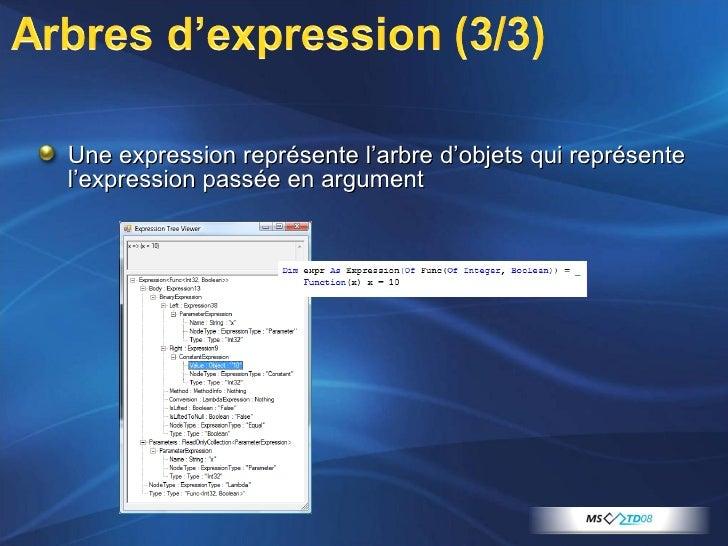 <ul><li>Une expression représente l'arbre d'objets qui représente l'expression passée en argument </li></ul>
