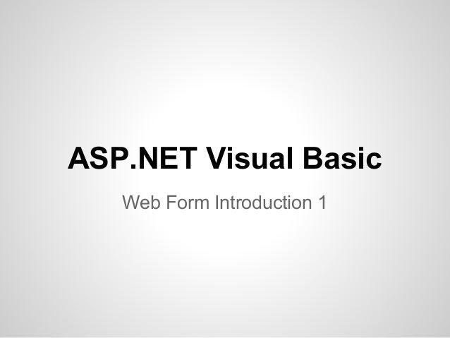 ASP.NET Visual Basic Web Form Introduction 1