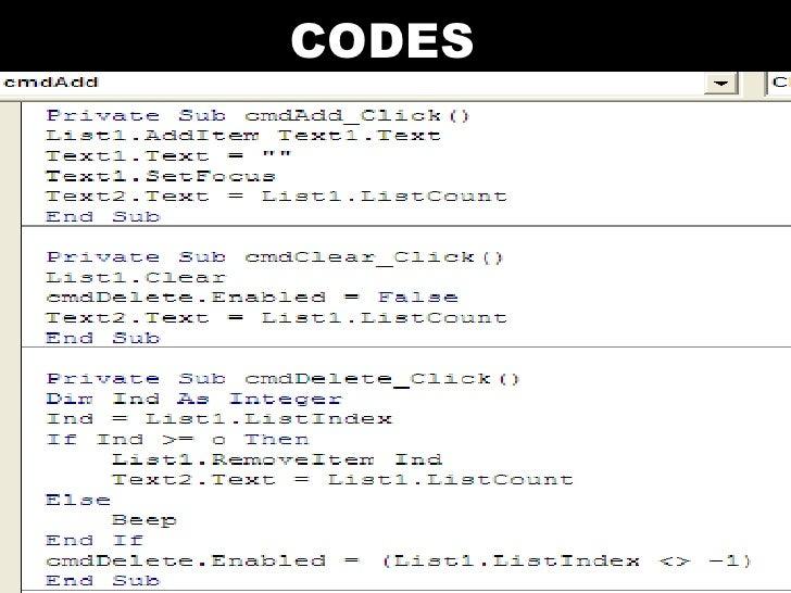Visual Basic Codes And Screen Designs