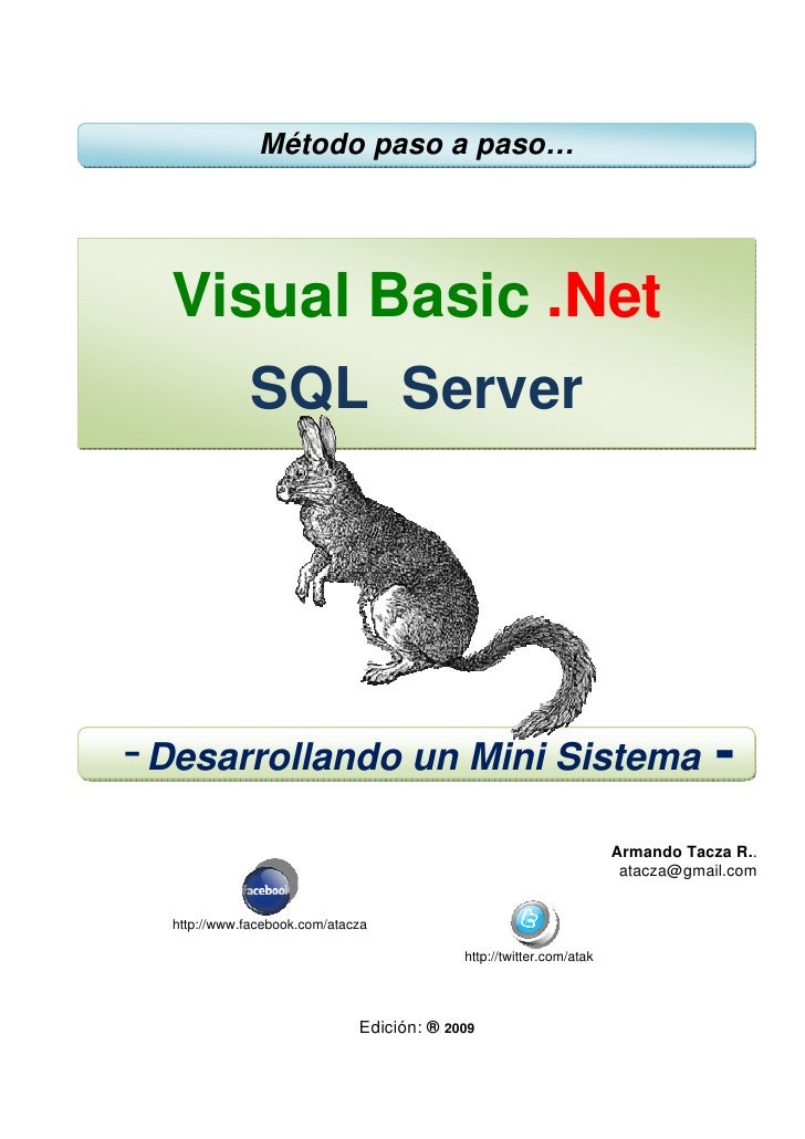 Método paso a paso…       Visual Basic .Net               SQL Server     - Desarrollando un Mini Sistema -                ...