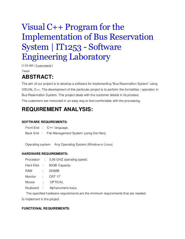 Visual C++ Program for the Implementation of Bus Reservation System | IT1253 - Software Engineering Laboratory [1:55 AM | ...