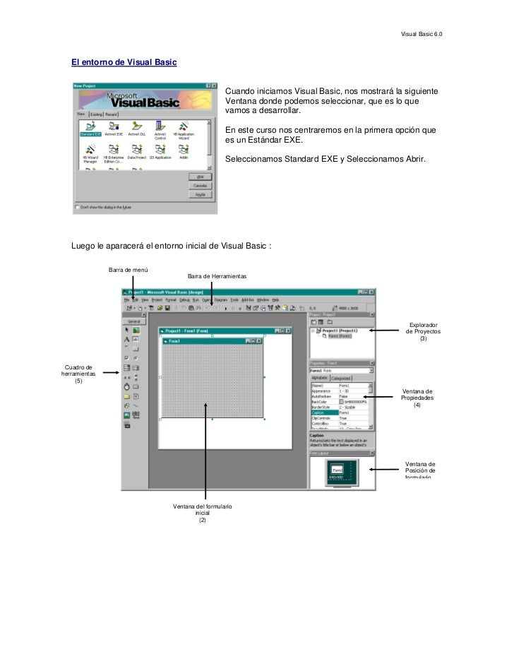 Visual Basic 6.0       El entorno de Visual Basic                                                     Cuando iniciamos Vis...