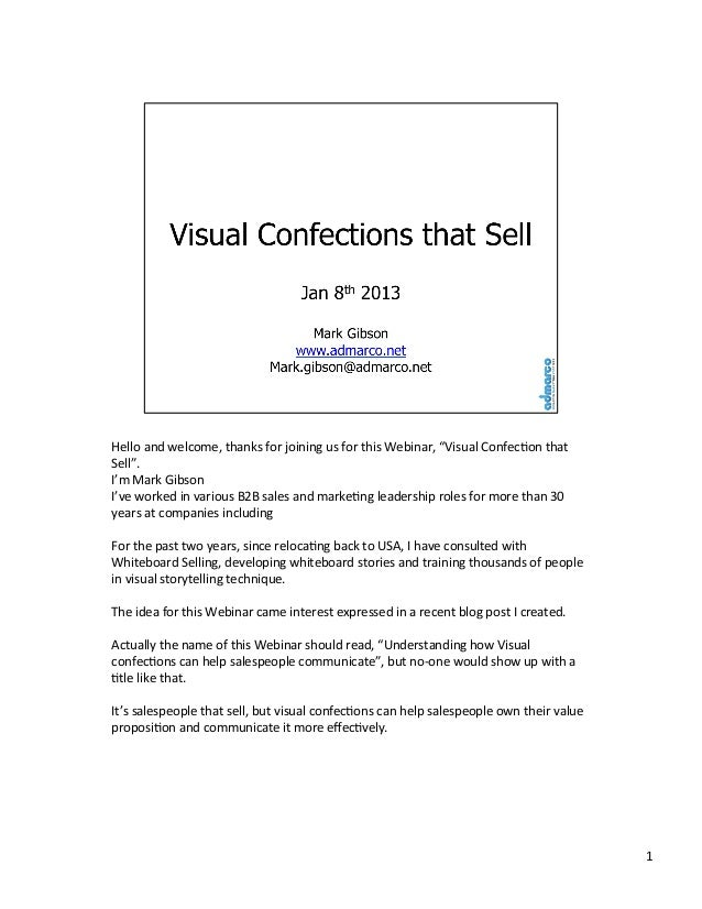 "Hello	   and	   welcome,	   thanks	   for	   joining	   us	   for	   this	   Webinar,	   ""Visual	   Confec<on	   that	    ..."