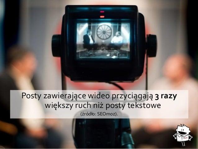 Posty zawierające wideo przyciągają 3 razy większy ruch niż posty tekstowe (źródło: SEOmoz).
