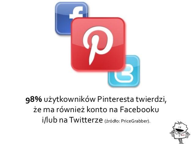 98% użytkowników Pinteresta twierdzi, że ma również konto na Facebooku i/lub naTwitterze (źródło: PriceGrabber).