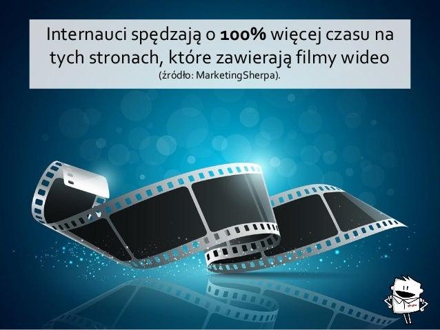 Internauci spędzają o 100% więcej czasu na tych stronach, które zawierają filmy wideo (źródło: MarketingSherpa).