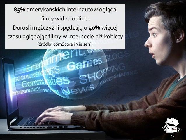 85% amerykańskich internautów ogląda filmy wideo online. Dorośli mężczyźni spędzają o 40% więcej czasu oglądając filmy w I...