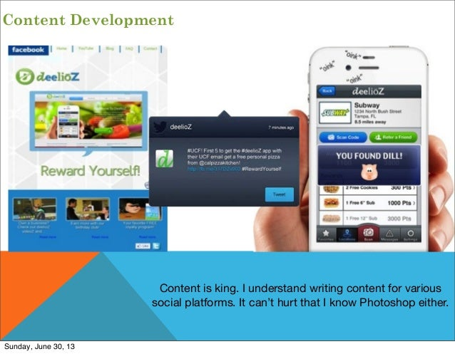 Content Development Content is king. I understand writing content for various social platforms. It can't hurt that I know ...