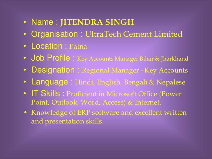 Ultratech Cement Career : Visual cv jitendra singh