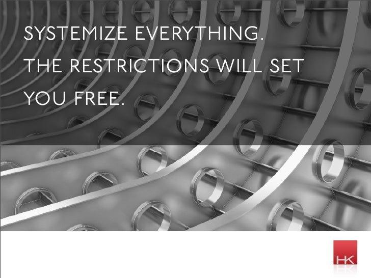 systemize everything. the restrictions will set you free.