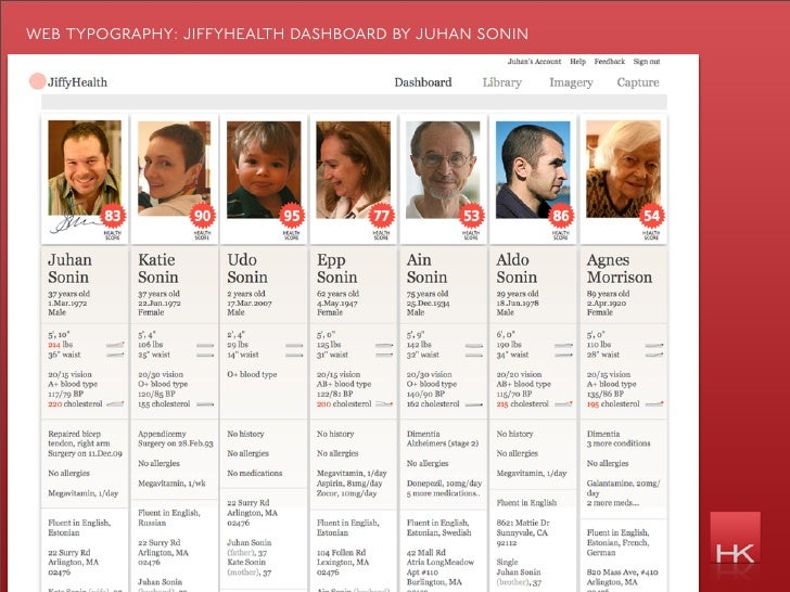 web typography: ji yhealth dashboard by juhan sonin