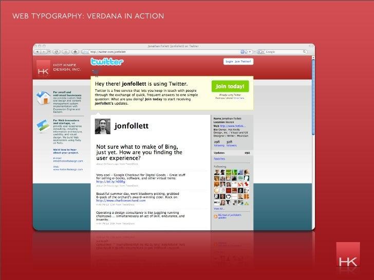 web typography: verdana in action
