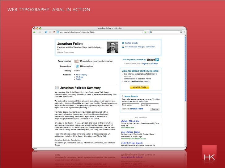 web typography: arial in action