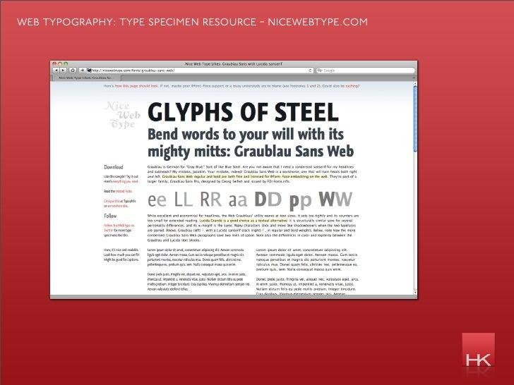 web typography: type specimen resource - nicewebtype.com