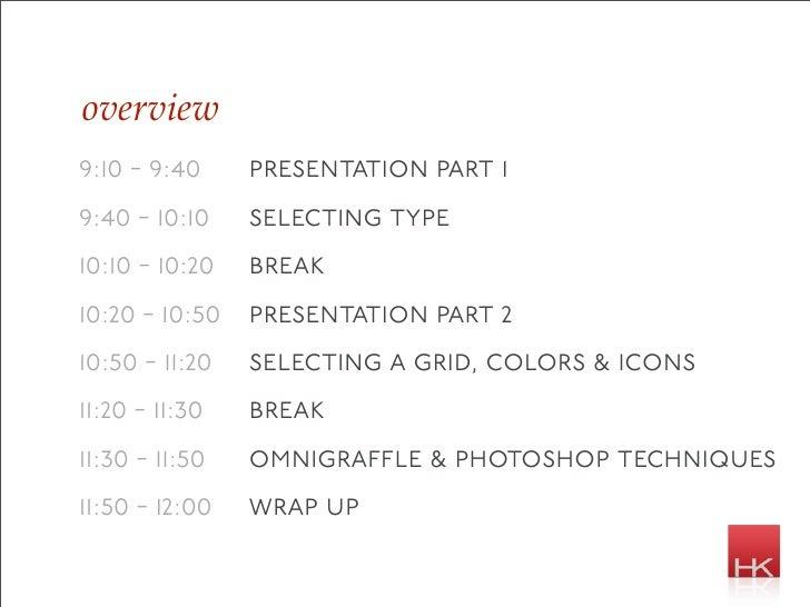 overview 9:10 - 9:40     presentation part 1 9:40 - 10:10    selecting type 10:10 - 10:20   break 10:20 - 10:50 presentati...