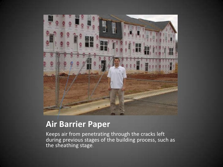 Air Barrier Paper Keeps air from penetrating through the cracks left during previous stages of the building process, such ...