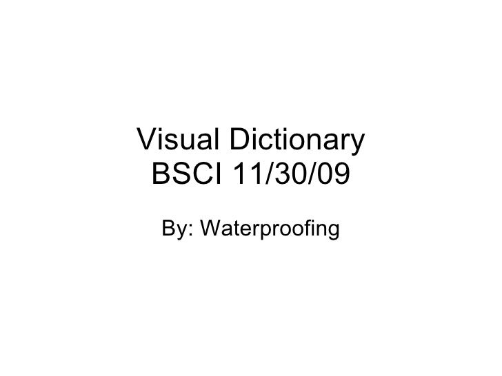 Visual Dictionary BSCI 11/30/09 By: Waterproofing