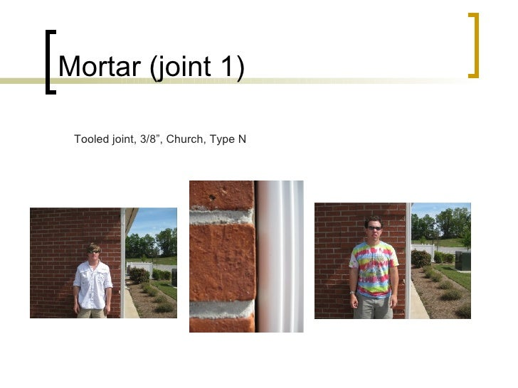 """Mortar (joint 1) Tooled joint, 3/8"""", Church, Type N"""