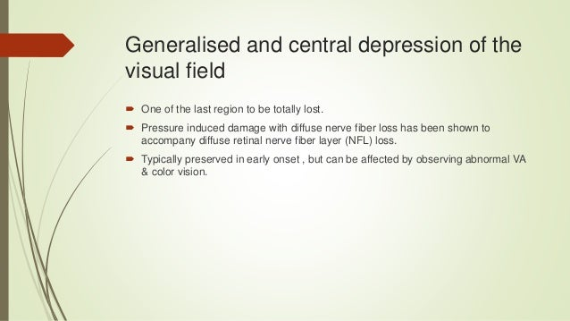 Visual field assessment,optic nerve changes and retinal changes