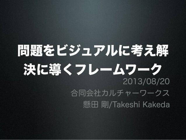 問題をビジュアルに考え解 決に導くフレームワーク 2013/08/20 合同会社カルチャーワークス 懸田 剛/Takeshi Kakeda