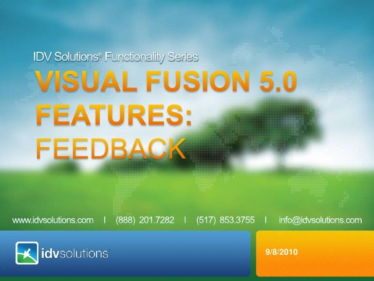 IDV Solutions® Functionality Series<br />VISUAL fusion 5.0 <br />Features: FEEDBACK<br />