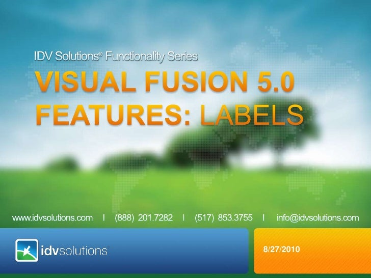 IDV Solutions® Functionality Series<br />VISUAL fusion 5.0 <br />Features: Labels<br />