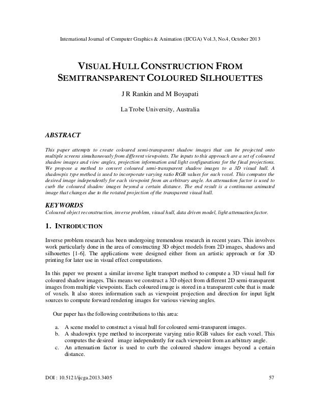 International Journal of Computer Graphics & Animation (IJCGA) Vol.3, No.4, October 2013  VISUAL HULL CONSTRUCTION FROM SE...