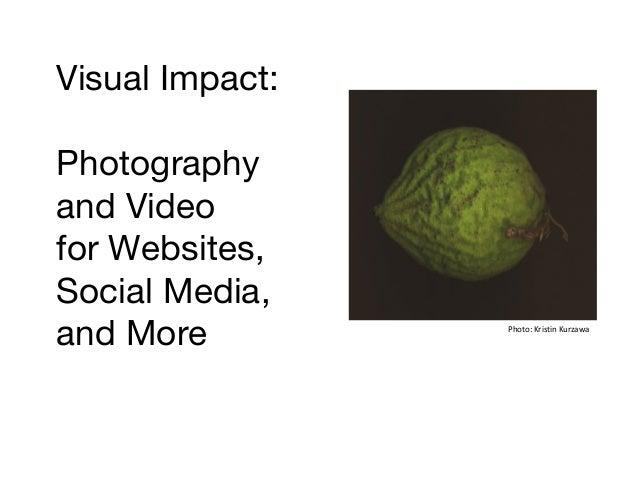 Visual Impact: Photography and Video for Websites, Social Media, and More  Photo: Kristin Kurzawa
