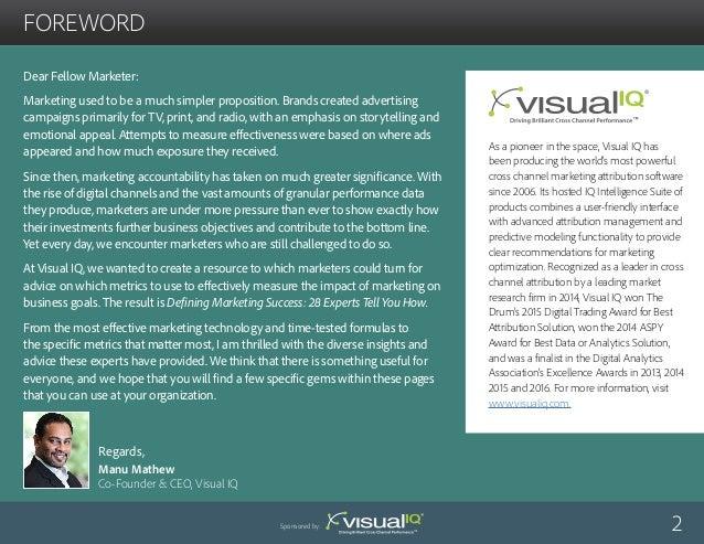 Visual IQ: Defining Marketing Success: Metrics That Calculate Return Slide 2