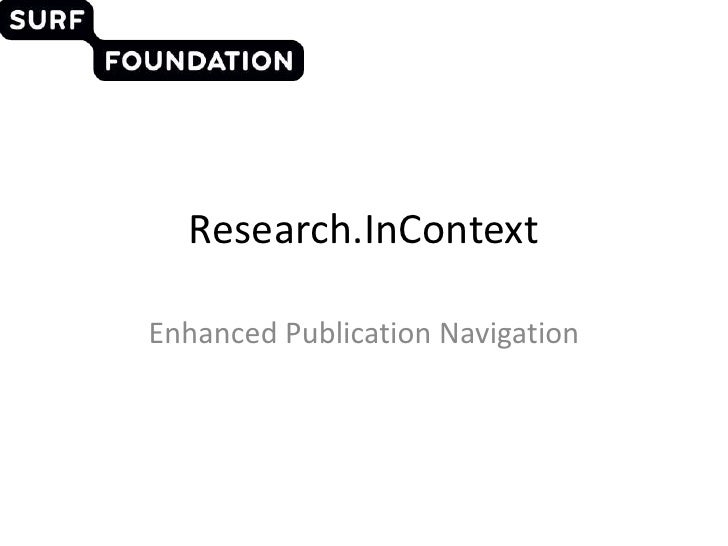 Research.InContext<br />Enhanced Publication Navigation<br />