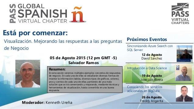 Visualización. Mejorando las respuestas a las preguntas de Negocio 05 de Agosto 2015 (12 pm GMT -5) Salvador Ramos Resumen...
