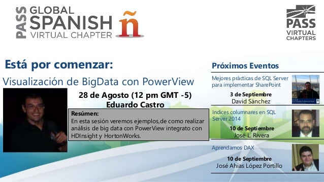 Visualización de BigData con PowerView  28 de Agosto (12 pm GMT -5)  Eduardo Castro  Resúmen:  En esta sesión veremos ejem...