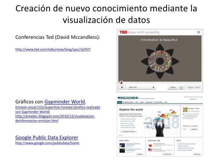 Creación de nuevo conocimiento mediante la           visualización de datosConferencias Ted (David Mccandless):http://www....