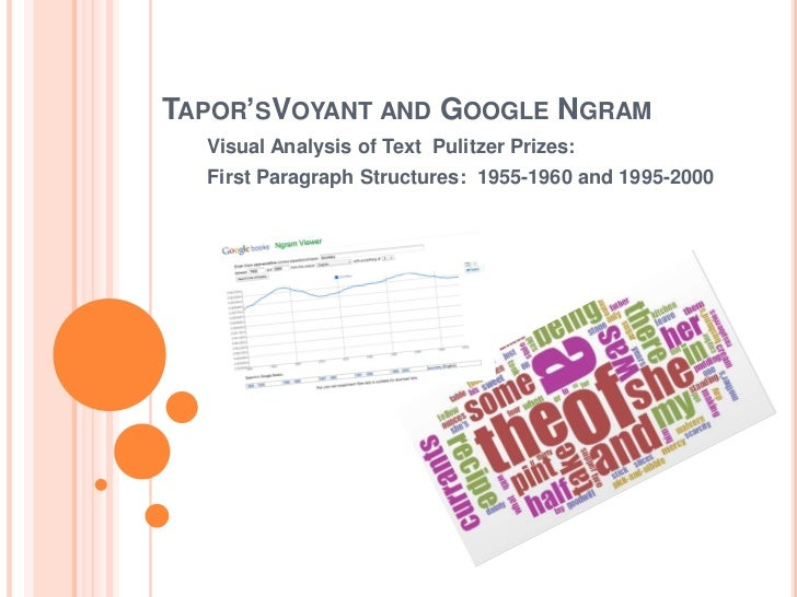TAPOR'SVOYANT AND GOOGLE NGRAM  Visual Analysis of Text Pulitzer Prizes:  First Paragraph Structures: 1955-1960 and 1995-2...