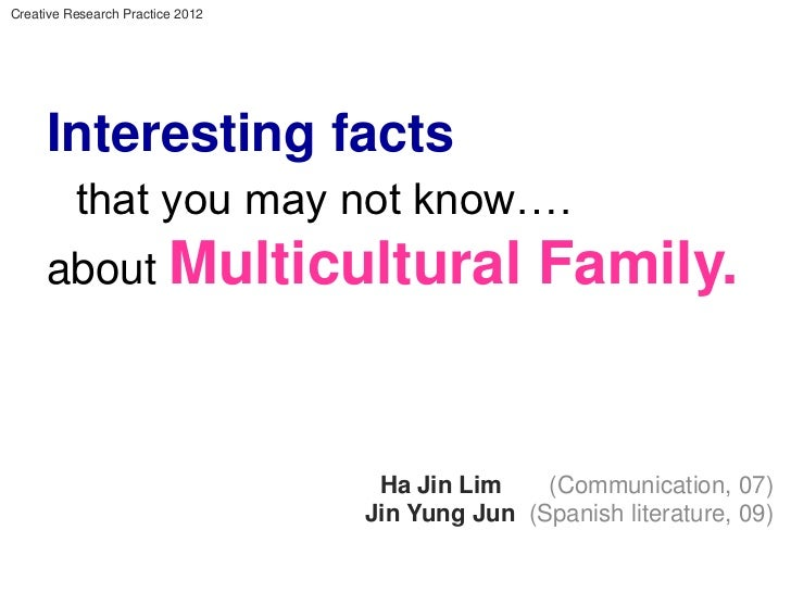 Creative Research Practice 2012     Interesting facts          that you may not know….     about Multicultural            ...