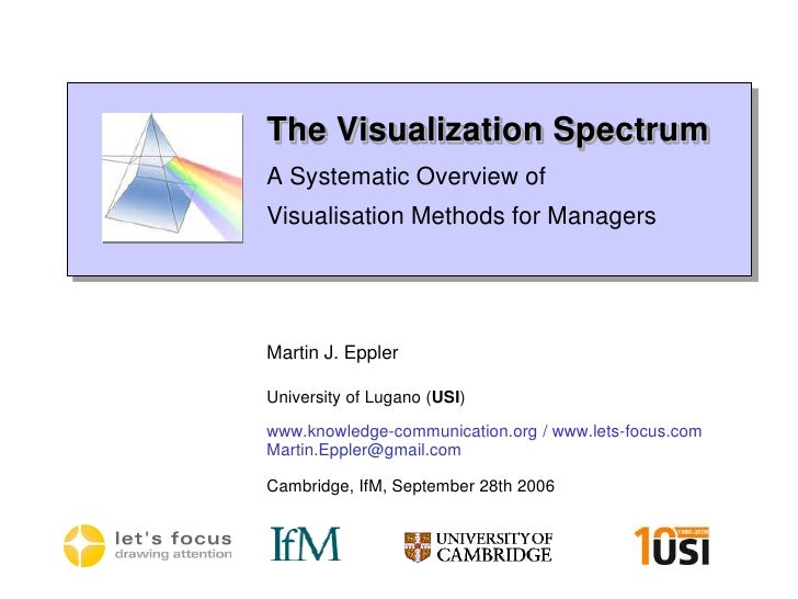 The Visualization SpectrumA Systematic Overview of Visualisation Methods for Managers<br />Martin J. Eppler<br />Universit...