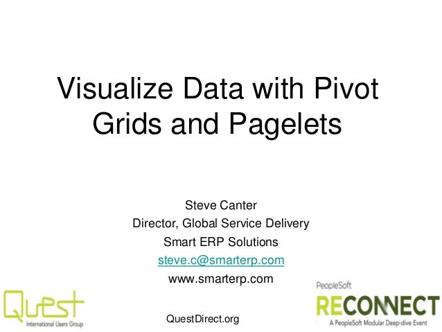 QuestDirect.org Visualize Data with Pivot Grids and Pagelets Steve Canter Director, Global Service Delivery Smart ERP Solu...