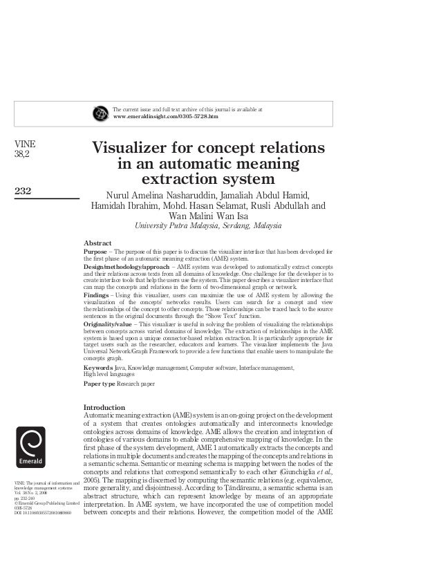 Visualizer for concept relations in an automatic meaning extraction system Nurul Amelina Nasharuddin, Jamaliah Abdul Hamid...