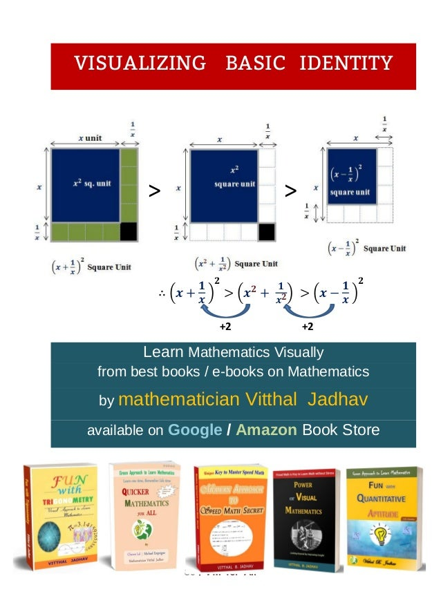 86 । VM for All > > +2 +2 VISUALIZING BASIC IDENTITY ( ) ( 𝟐 ) ( )𝟐 Learn Mathematics Visually from best books / e-books o...