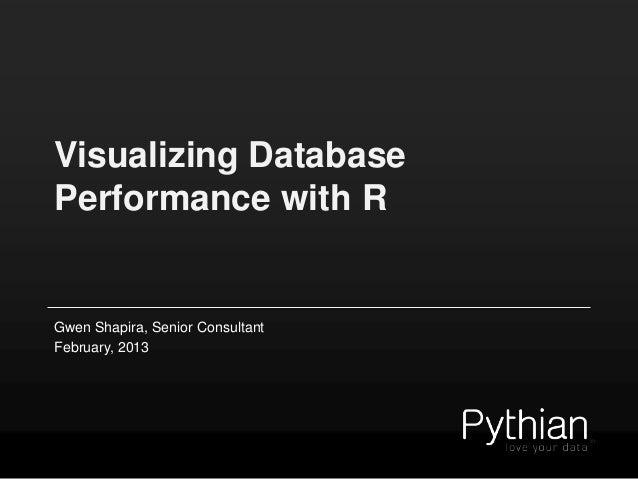 Visualizing DatabasePerformance with RGwen Shapira, Senior ConsultantFebruary, 2013