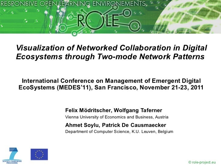 Visualization of Networked Collaboration in DigitalEcosystems through Two-mode Network Patterns International Conference o...