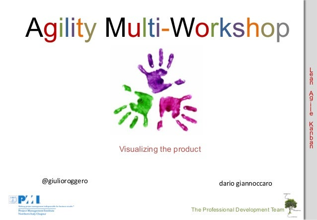 Agility Multi-Workshop L e a n A g i l e K a n b a n  Visualizing the product  @giulioroggero    dario  giannoccaro  ...
