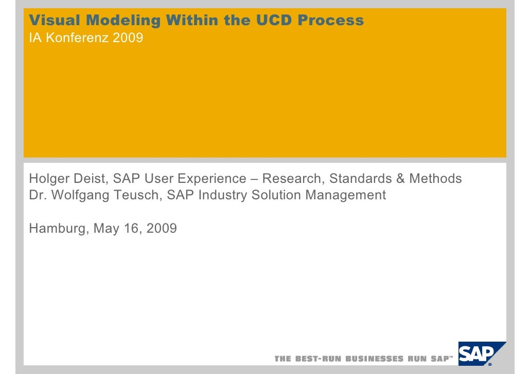 Visual Modeling Within the UCD Process IA Konferenz 2009     Holger Deist, SAP User Experience – Research, Standards & Met...