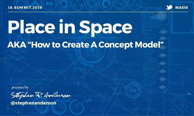"IA SUMMIT 2016 @stephenanderson Stephen P. Anderson #IAS16 t presented by Place in Space AKA ""How to Create A Concept Mode..."