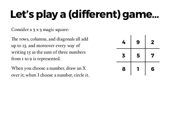 1 2 3 4 5 6 7 8 9 4 9 2 3 5 7 8 1 6 Why is Tic-tac-toe so much simpler? VS